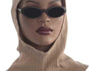 Beige Hoodie Cotton Rib Knit