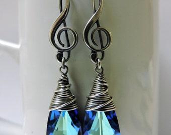 Sterling Silver Treble Clef Earrings with Bermuda Blue Swarovski Crystals