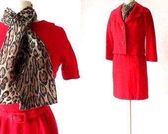 Red 50s Dress Set / Something Wild Dress / 1950s Dress / Cheetah Print Scarf / XXS XS