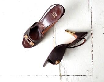 Vintage 1950s Shoes | Rhinestone Heels | Stiletto Heels | Size 7 1/2