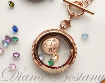 Rose Gold Locket, Glass Locket, Mom Locket Necklace, Living Locket Necklace, Custom Locket with 3 Gemstones, Grandma Gift