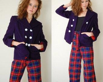 Sailor Jacket Vintage 60s Navy Blue Nautical Preppy Sailor Crop Wool Swing Jacket (m l)