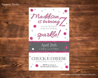 CUSTOM PRINTABLE Invitation: Sparkle Birthday Invitation (Customizable)