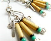 Sterling Silver Amazon Tribal Earrings / Turquoise