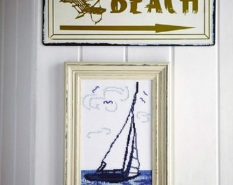 Beach wall art SAIL AWAY - sailing,sail boat,handmade,diy,cross stitch,needlepoint,embroidery,blue,ocean,nautical, beach,anette eriksson,diy
