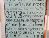 Shabby Wood Sign Prayer Hand Painted Lord's Prayer Handmade Painted Made To Order Subway Style