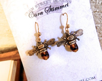 Mini Bee Earring, Bee Jewelry, Honey Bee dangle Earrings, Insect Jewelry, Apiculture, Bee Keeper Gift
