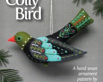 Colly Bird PDF pattern for a hand sewn wool felt ornament