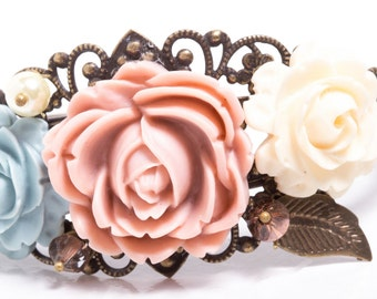 Her First Corsage Victorian Garden Filigree Cuff with Resin Flowers and Swarovski Crystals & Pearls