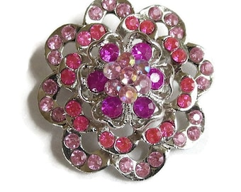 Vintage Layered Flower Brooch in Shades of Pink and Fuchsia Rhinestones