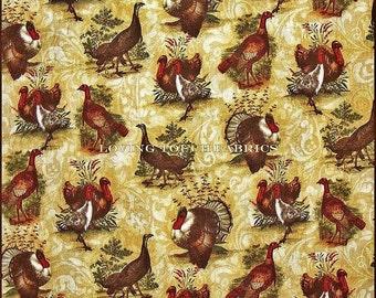 "Benartex Thanksgiving Turkey Run Mixed Turkeys Cotton Fabric 1/2 YD 18"" X 44"""