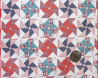 "Riley Blake ""Stars & Stripes"" Patriotic Pinwheels Cotton Fabric 1/2 Yd. 18"" x 44"""