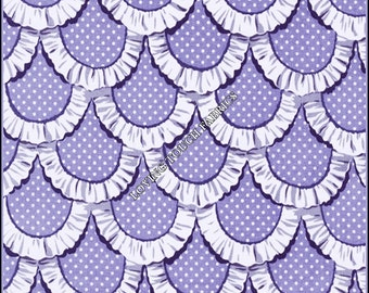 "Michael Miller ""Apron Ruffles"" Tea Room  Periwinkle Cotton Fabric 1/2 Yd. 18"" x 44"""