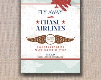 Vintage Airplane Invitation - Airplane Party, Airline Party - DIY Printable PDF File