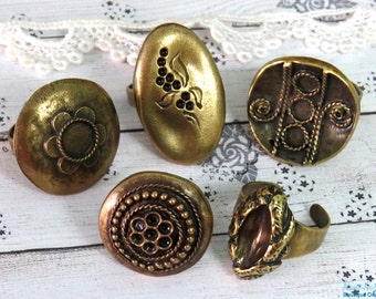 SALE 5 Brass , antique Gold Bronze plated ring blanks , round & oval ring settings, Boho vintage oxidized rustic , adjustable wide band - R
