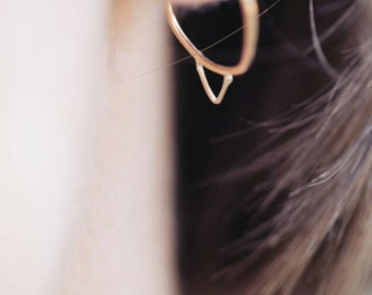 gold, hoop, earrings, tiny, delicate, gold filled, triangle, rose gold, sterling silver