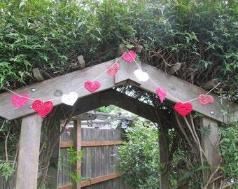 heart garland, crochet, pink, red, white