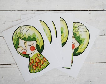 Green set, spring postcards collection, illustration card lot, set of 5