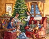 Preparing for Christmas - Holiday Watercolor Illustration Art Print