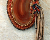 """Handmade Bead Embroided Wearable Art Statement Piece """"Orangeade"""" Polished Agate Brooch / Pin / Pendant / Bag Accessory w/Tan Leather Fringe."""