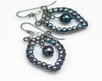 Blue Peacock Pearl Beaded Dangles, Boho Style Hippie Earrings, Artisan Made Pearl Hoop Earrings, Contemporary Handmade Pearl Drop Design