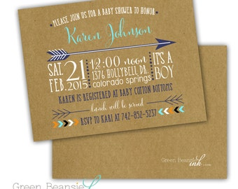 HIPSTER TRIBAL ARROW Printable Party Invitation - Printing Available