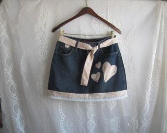 Denim Mini Skirt -Recycled, reused, Altered size 7