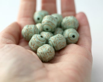 Pale Mint Green Gold Etched Barrel Acrylic Beads Carved 16mm (12)