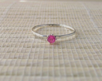Pink Sapphire Ring Stacking Sterling Silver Lab Created October Birthstone Made To Order