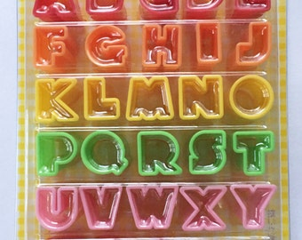 Cute Japanese Bento Lunch Box Alphabet Cutters / Ham / Cheese / Carrots / Icing / Cookie Cutters Set