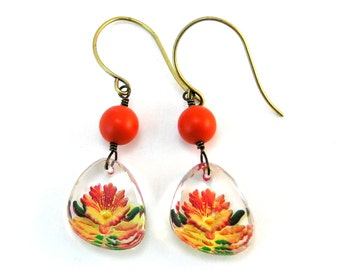 Flower Earrings, Vintage Flower Earrings, Yellow Orange Flower Earrings