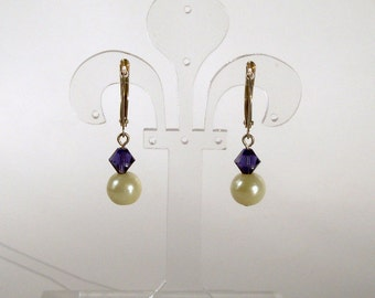 Ivory Glass Pearl and Purple Swarovski Crystal Earrings