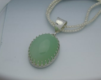Green Calcite pendant on double mesh chain