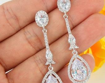 Art Deco wedding earrings crystal vintage inspired Art Nouveau 1920/30s style pearl crystal drop wedding jewellery