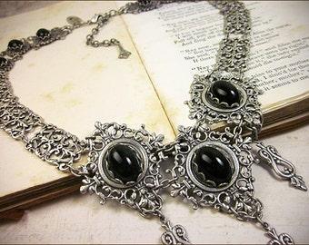 Black Renaissance Jewelry, Tudor, Medieval Costume, SCA Garb, Renaissance Wedding, Bridal Necklace, Ren Faire,  Marie Antoinette, Chateau
