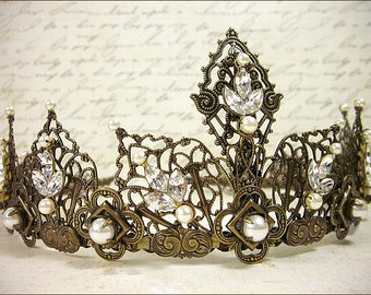 Renaissance Bridal Tiara, Elizabethan, Medieval Crown, Custom Wedding Tiara, Bridal Headpiece, Renaissance Wedding, Elizabethan