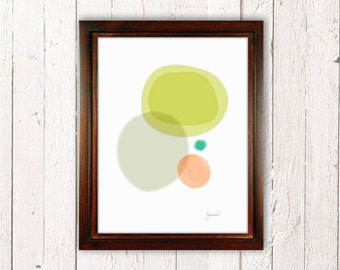Mid Century Modern Wall Art, Abstract Print, Fine Art Print, Watercolor, Green