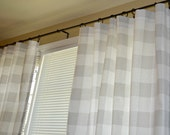 "Pair of Grey Buffalo Check Curtain Panels Drapes - Anderson French Gray and White - Large Gingham Gray 25"" or 50""  wide - You choose length"
