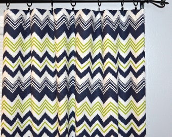Curtains Blue Green Zig Zag - Pair of Panels Rod Pocket Panels,  Zazzle ZigZag Navy Blue Chartreuse Green White Chevron - Choose Size