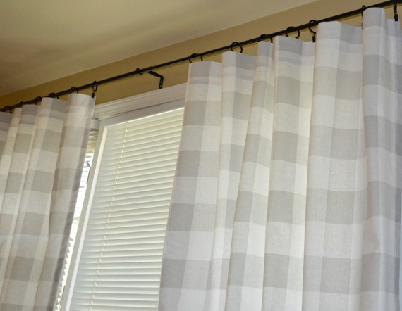 Pair of grey buffalo check curtain panels drapes anderson