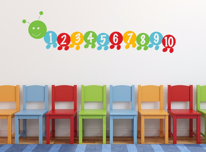 Counting number caterpillar wall decal DB385