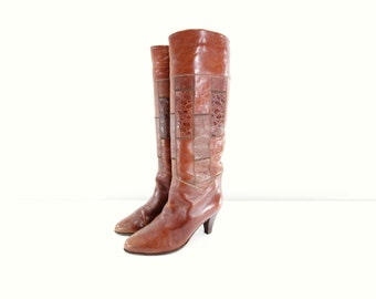 Vintage Brown Boots Boho 70s Boots Vintage Tan Boots Size 7 Heel Boots Tan Leather Boots Boho Patchwork sz 7 Tall Chestnut Heels Size 7