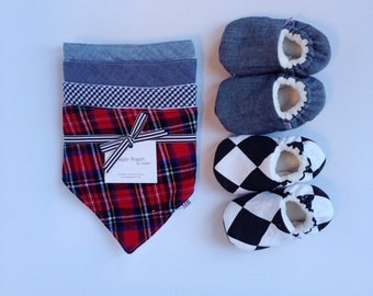 Baby Boy Gift Set // Bibs & Slippers in Plaid/Chambray