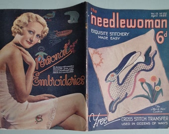 Vintage 1930s Needlework Magazine - The Needlewoman 1935  - vintage sewing embroidery book - 30s knitting patterns women's jumper and hat