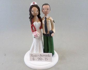 Sheriff & Nurse Custom Wedding Cake Topper