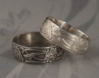 Silver Wedding Ring-Fleur Nouveau Ring-Sterling Silver Art Nouveau Floral Patterned Wide Band--Custom Made in YOUR Size