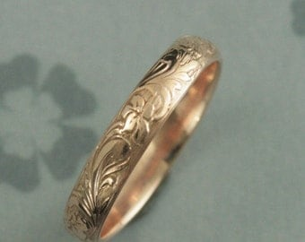 Rose Gold Wedding Band--Solid 14K Rose Gold Neoclassic Band--Floral Patterned Band--Antique Style Band--Vintage Style Band--Flower Ring