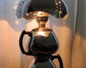 Rosie in Couture chrome coffee pot lamp with shade