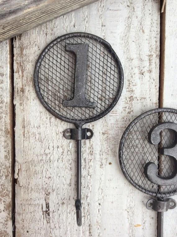 Number Hooks, Wall Hooks, Nursery Room, Children's Room, Antique Bronze Decor