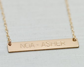 Gold bar necklace - dainty gold necklace - mother necklace - delicate jewelry - engraved nameplate - minimalist necklace - Sea & Cake custom